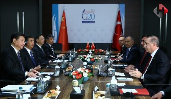 Cumhurbaşkanı Erdoğan, Çin Devlet Başkanı ile bir araya geldi