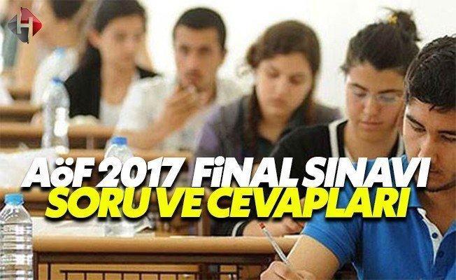 14 15 Ocak AÖF güz dönemi final sınavı soru ve cevapları 2017