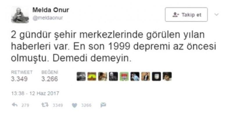 CHP eski milletvekili Melda Onur depremi önceden tahmin etti.