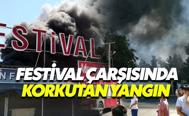 Antalya'da festival çarşısında korkutan yangın