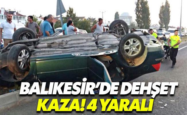 Balıkesir'de yolcu otobüsü otomobili sıkıştırdı: 4 yaralı