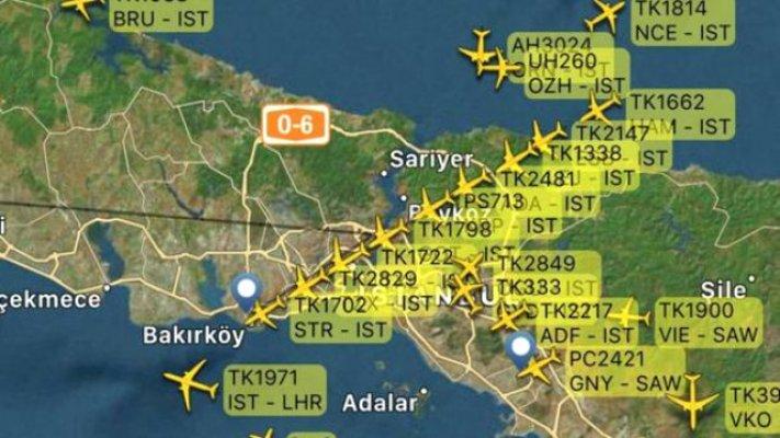 İstanbul Atatürk Havalimanı yolcu uçağı kuyruğu