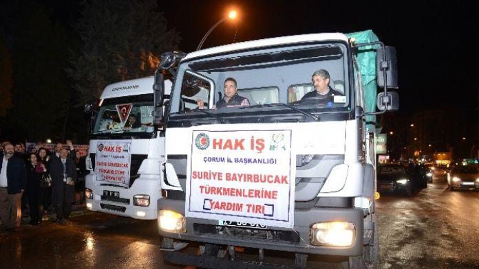 İşçilerden Bayırbucak Türkmenleri'ne 2 Tır Yardım
