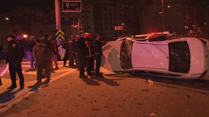 Polisten kaçan araç 15 metreden aşağı düştü