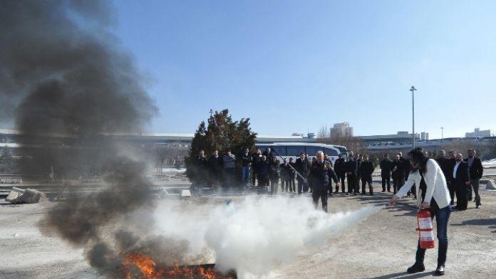 AŞTİ Personeline 'Yangın Söndürme' Tatbikatı
