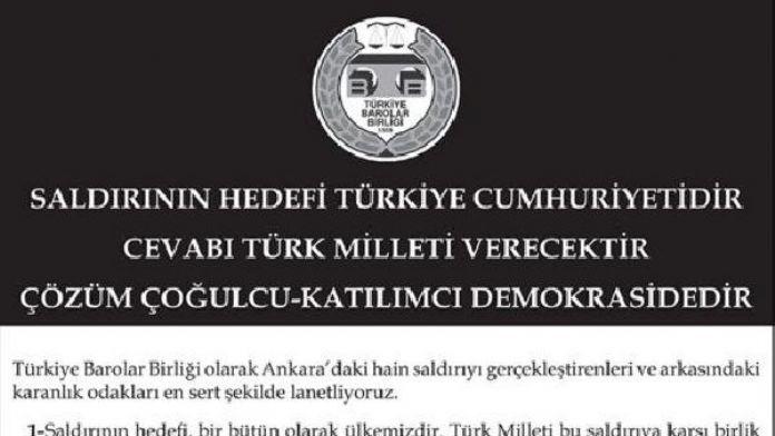 TBB: Saldırının hedefi Türkiye Cumhuriyetidir, cevabı Türk milleti verecektir