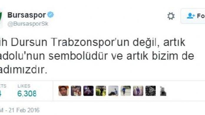 Bursaspor Kulübü'nden Salih Dursun'a destek