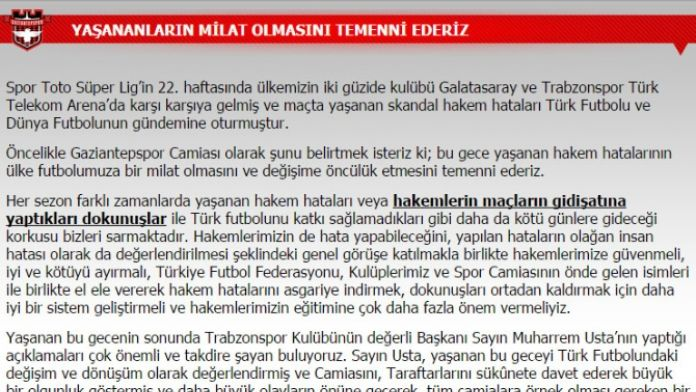 Gaziantepspor'dan Trabzonspor'a destek