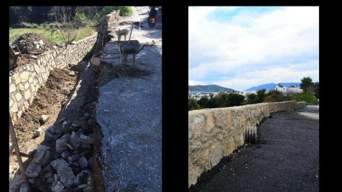 Bodrum'da Derelerin Yıkılan Duvarları Örülüyor