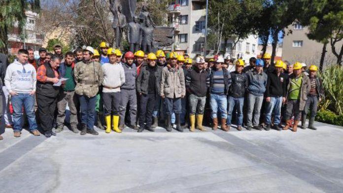 Söke'de ücret alamayan madenciler iş bıraktı