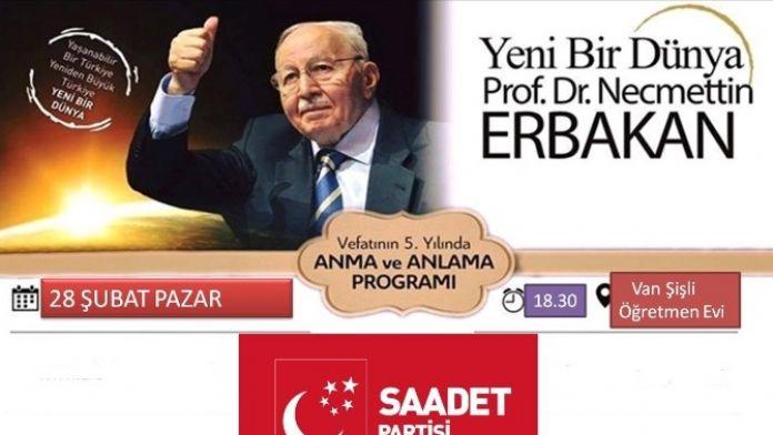 Van'da Erbakan'ı Anma Ve Anlama Programı