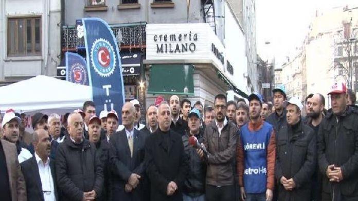 Beyoğlu'nda 'kiralık işçi' protestosu...