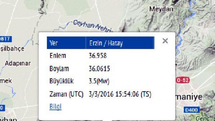 Hatay'da 3.5'lik deprem
