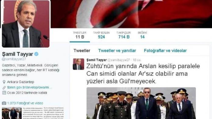 Şamil Tayyar'dan AYM'ye gönderme