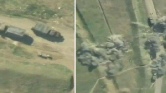 Azerbaycan Ermeni askeri araçlarını böyle vurdu!