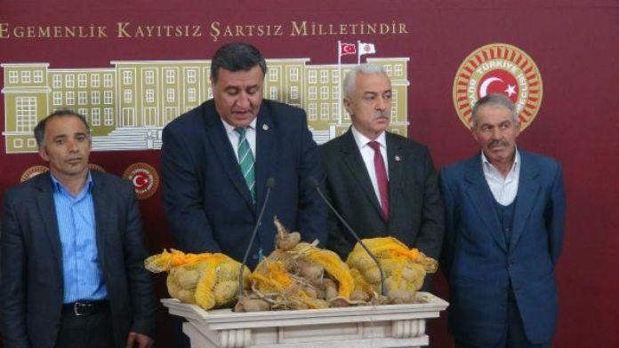 CHP'li milletvekilleri 'çimlenmiş' patateslerle Meclis'te basın toplantısı düzenledi