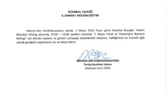 Memur-Sen'den 1 Mayıs için Taksim başvurusu