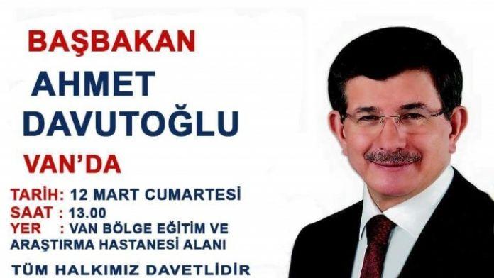 Başbakan Davutoğlu Van'a Geliyor