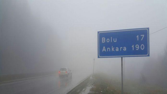 Bolu Dağında görüş mesafesi düştü
