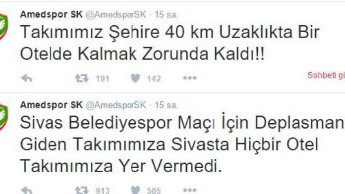 Sivas'ta otel bulamayan Amedspor, kent dışında konakladı