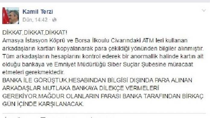 Amasya'da kartları kopyalanan 15 kişi dolandırıldı