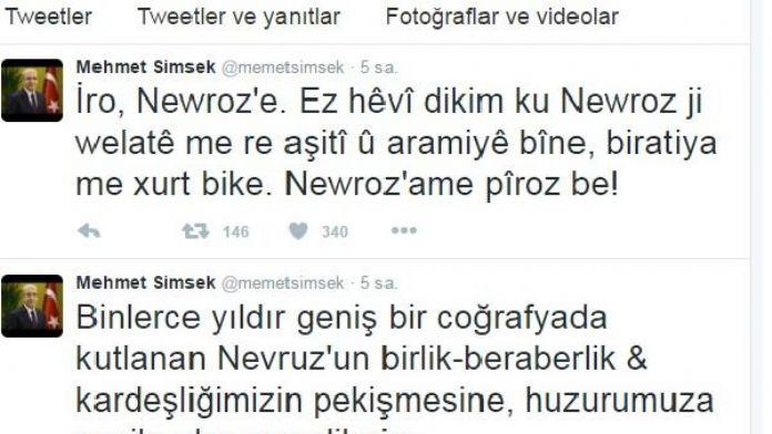 Mehmet Şimşek'ten Türkçe ve Kürtçe Nevruz Bayramı kutlaması