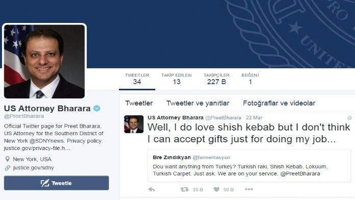 Reza Zarrab'ın savcısından 'şiş kebap' tweet'i