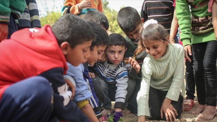 Gazzeli çocuklar İsrail'in bıraktığı enkaza çiçek dikti