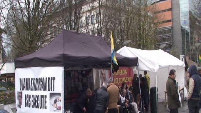 PKK çadırı Brüksel'de yeniden kuruldu