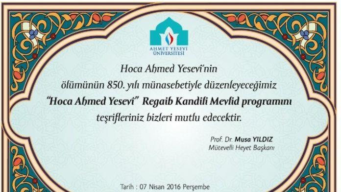 Ahmet Yesevi Üniversitesinden, Hoca Ahmed Yesevi İçin Mevlit