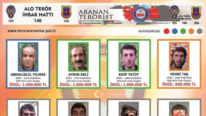 4 milyon lira ödüllü 'terörist listesi'
