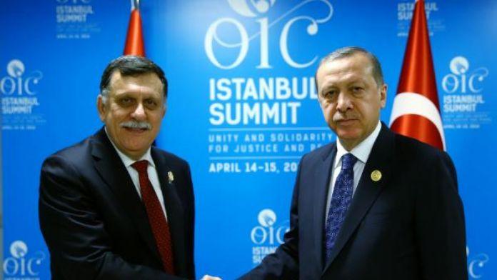 Cumhurbaşkanı Erdoğan, Fayez Serraj ile görüştü