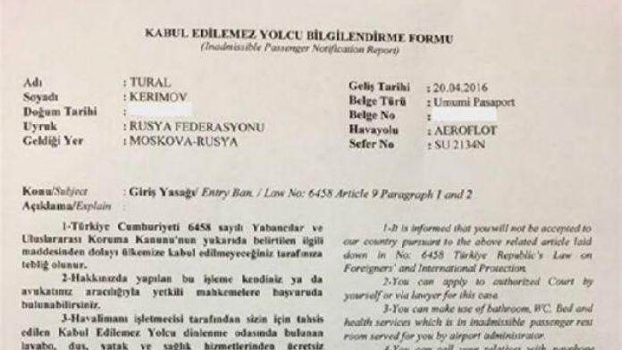 Sputnik-Türkiye Genel Müdürü Tural Kerimov'a giriş yasağı