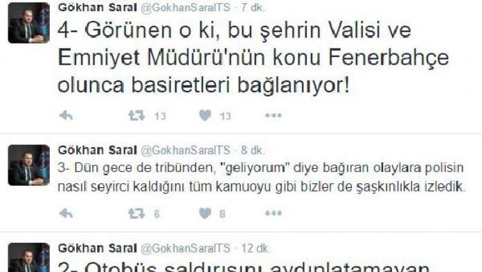 Trabzonspor yöneticisinden vali ve emniyet müdürüne eleştiri