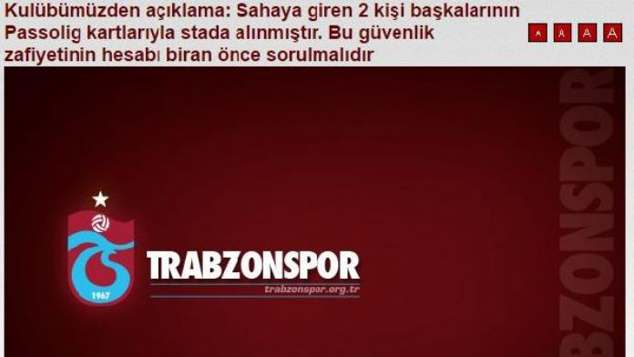 Trabzonspor: 'Saldırganlar başkalarının Passolig kartlyla stada girdi'