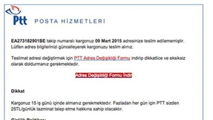 PTT'den Virüslü Mail Uyarısı