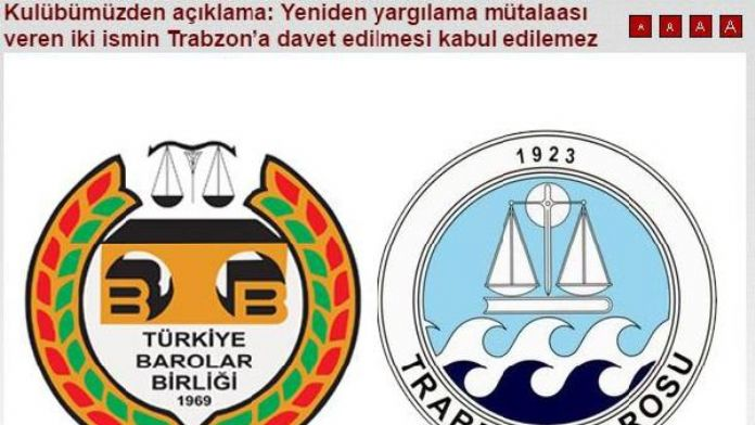 Trabzonspor'dan, Türkiye Barolar Birliği ve Trabzon Barosu'na tepki