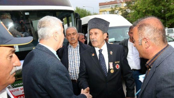 Aksaray'da Gaziler Çanakkale'ye Uğurlandı