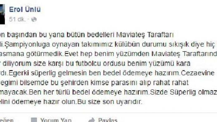 Karabükspor Taraftar Derneği Başkanından Facebook'ta tehdit içerikli paylaşım
