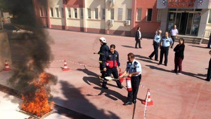 Salihli Emniyetinde Yangın Tatbikatı