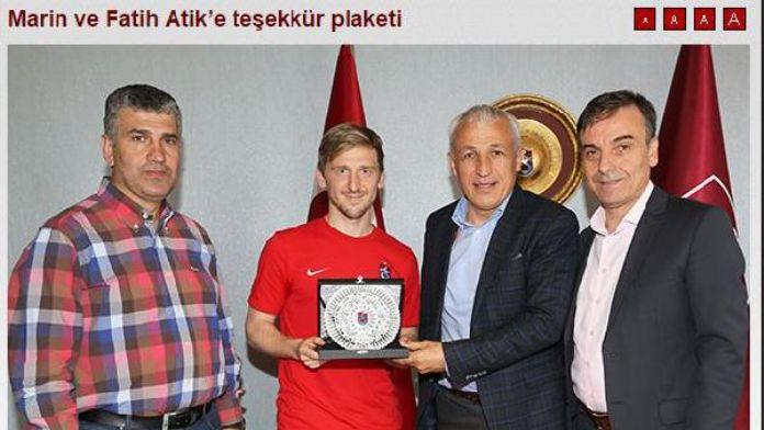 Trabzonspor, Marin ve Fatih'e hizmetlerinden dolayı teşekkür etti