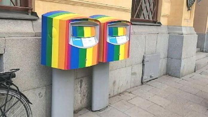 Stockholm'ün posta kutuları 'gök kuşağı' rengine boyandı