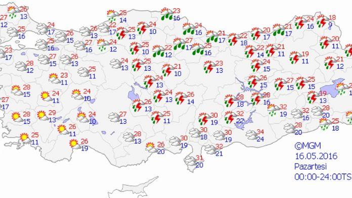 Yurtta hava durumu 16 Mayıs 2016 Pazartesi