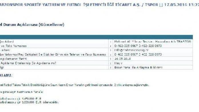 Trabzonspor Yanal'la 2 yıllık anlaşma sağladı