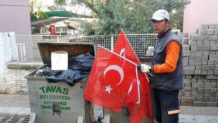 Tavas'ta Türk bayrağı ayıbı