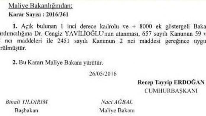 Yavilioğlu, Yeniden Maliye Bakan Yardımcılığına Atandı