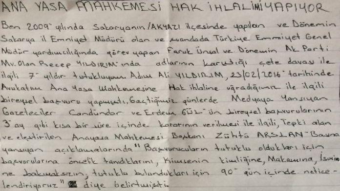 Tutuklu Ali Yıldırım Cezaevinden Mektup Yazdı