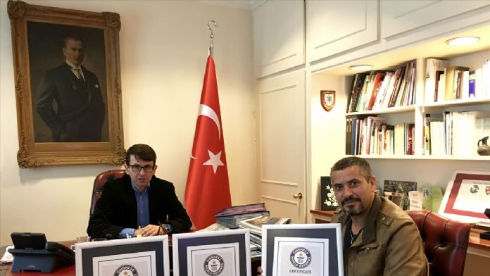 Guinness rekorları sahibi terör gazisi Türk sanatçı Londra'da