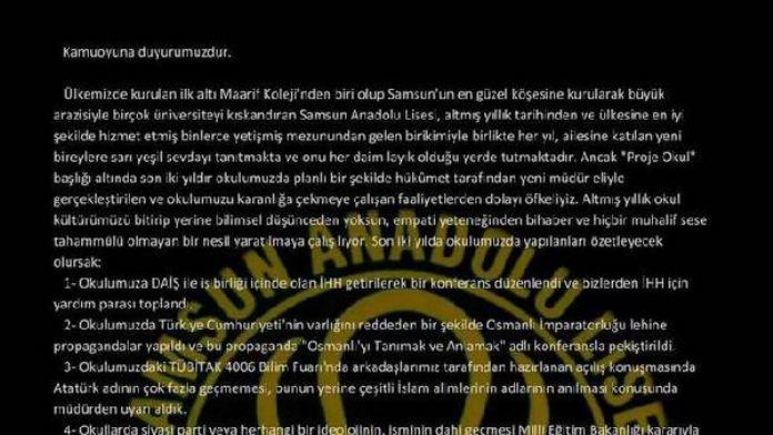 Samsun Anadolu Lisesi öğrencilerinin bildirisine müfettiş incelemesi