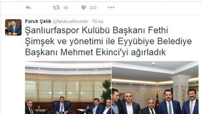 Bakan Çelik, Mehmet Ekinci'yi İşaret Etti